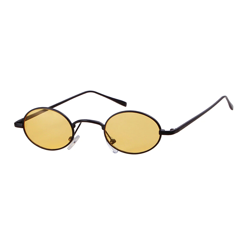 Skinny Steampunk Oval Sunglasses Eggyolk